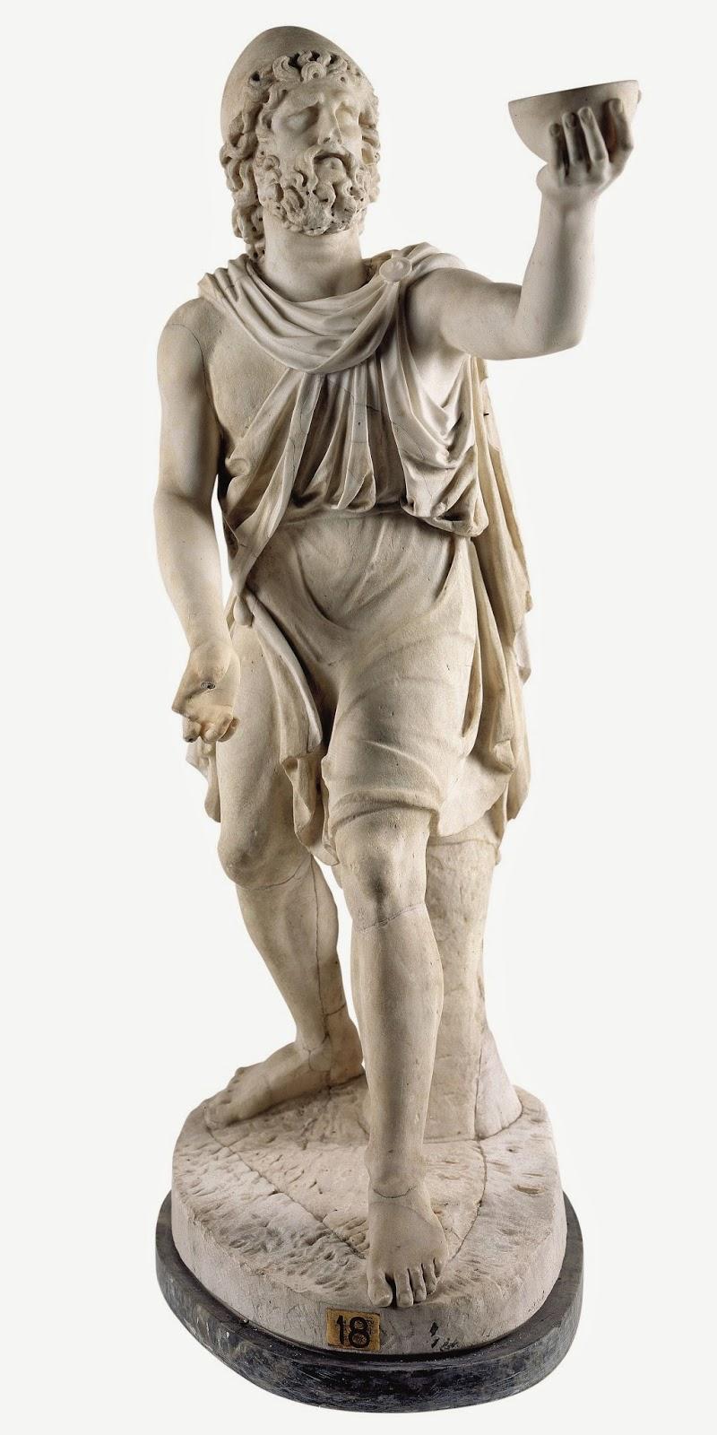Ulises ofreciendo una copa de vino a Polifemo. Mármol