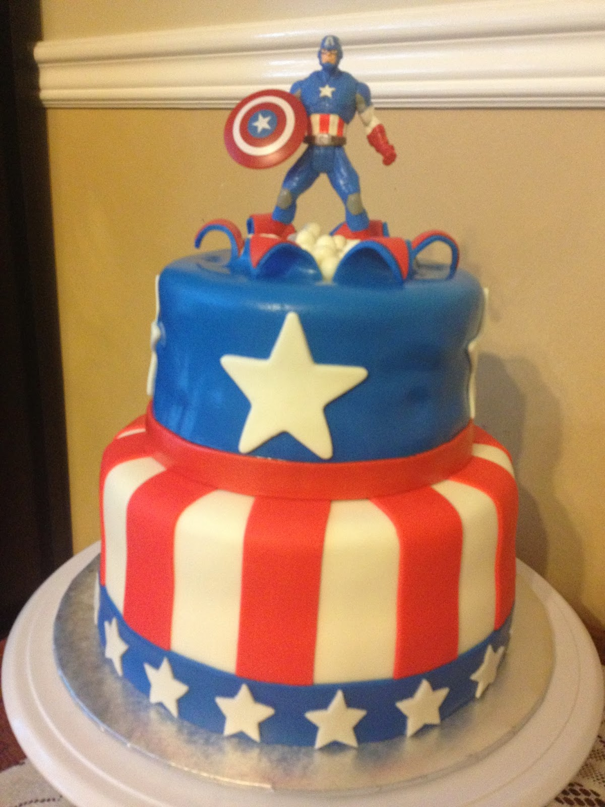 Captain America Two Tier Cake