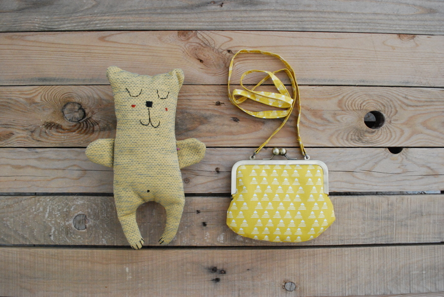 yellow coin purse soft toy