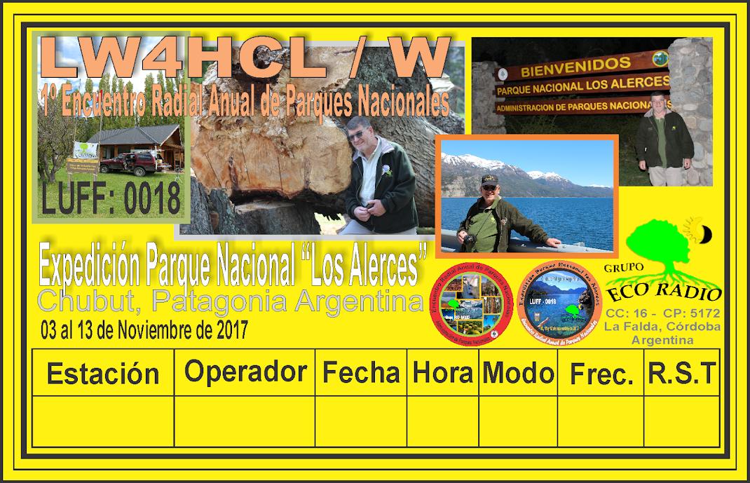 QSL Expedición Parque Nacional Los Alerces desde la Estación LW4HCL Carlos