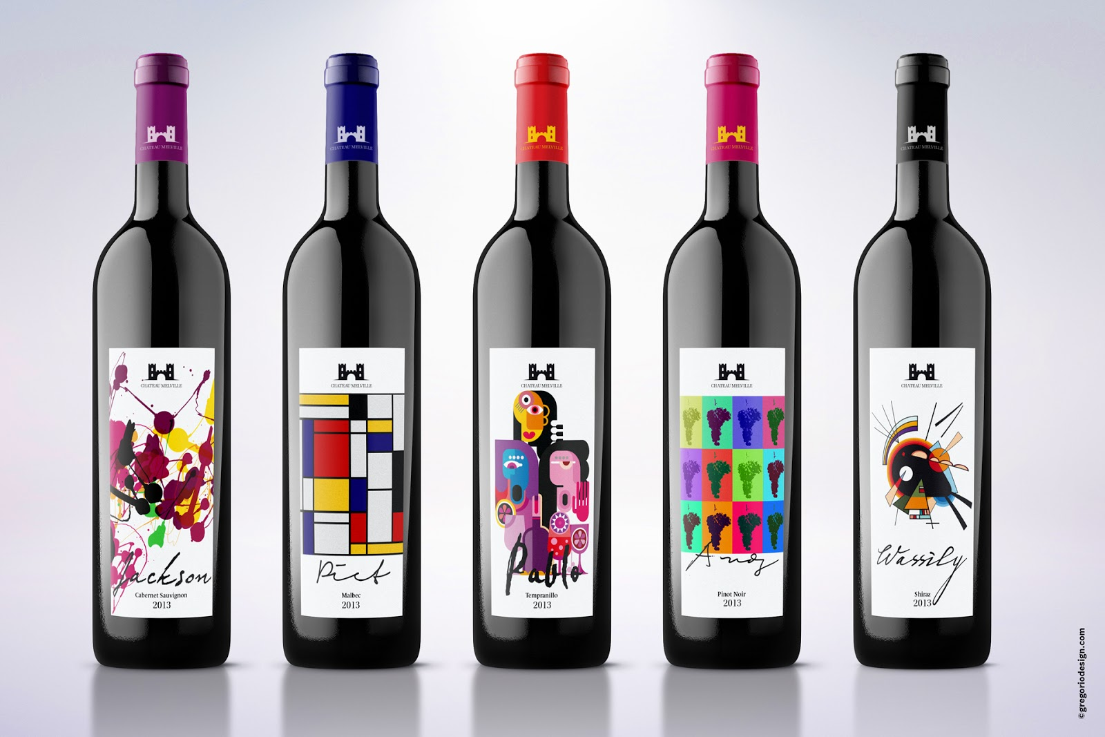 Wine Labels Inspired By Famous Artists On Packaging Of The
