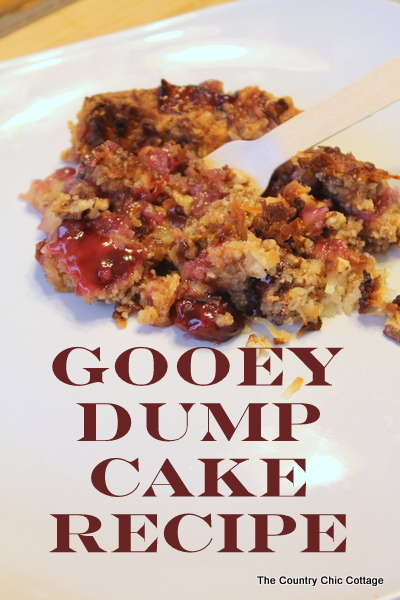 Gooey Dump Cake Recipe -- dump 6 ingredients into a pan and bake!  So quick and easy you can make dessert any night of the week!