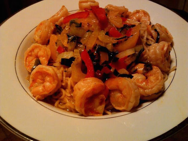 Shrimp with Asian vegetables over pasta tossed in a Citrus Ginger ...