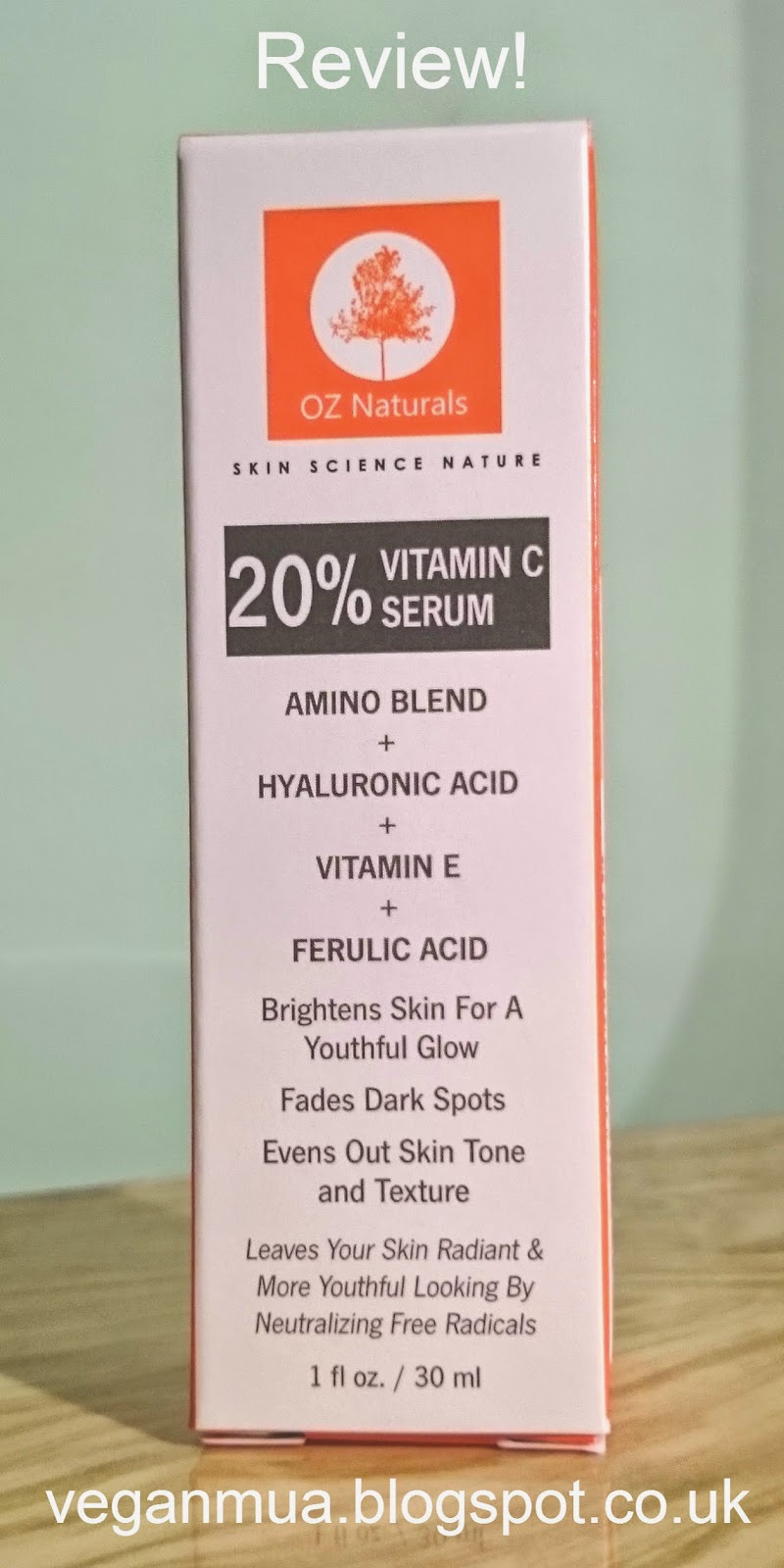 Review: Oz Naturals 20% Vitamin C & Amino & Hyaluronic Acid serum. Packaging