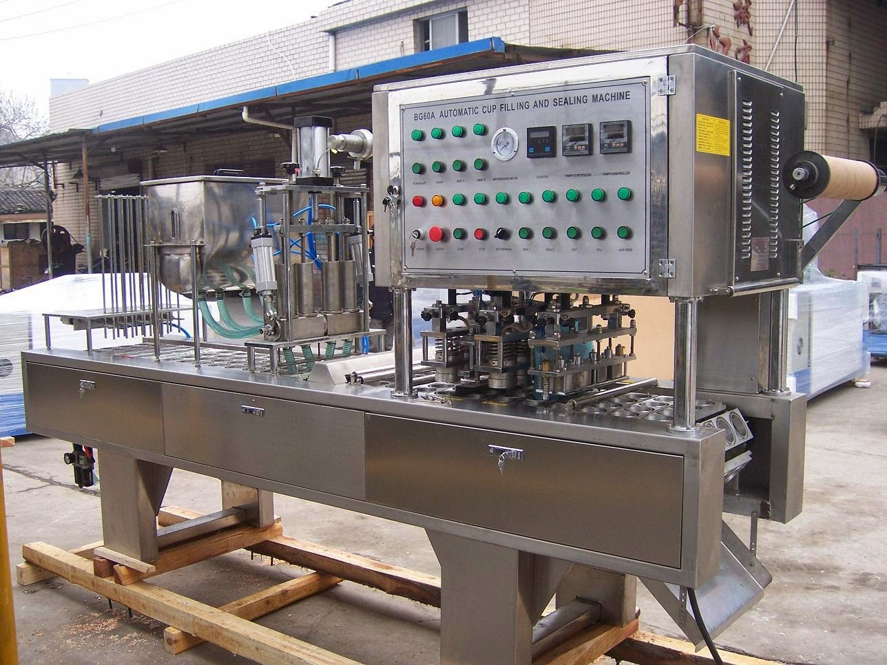 Four Lanes coffee powder automatic filling sealing machine cup filler sealer machinery シーリング充填機