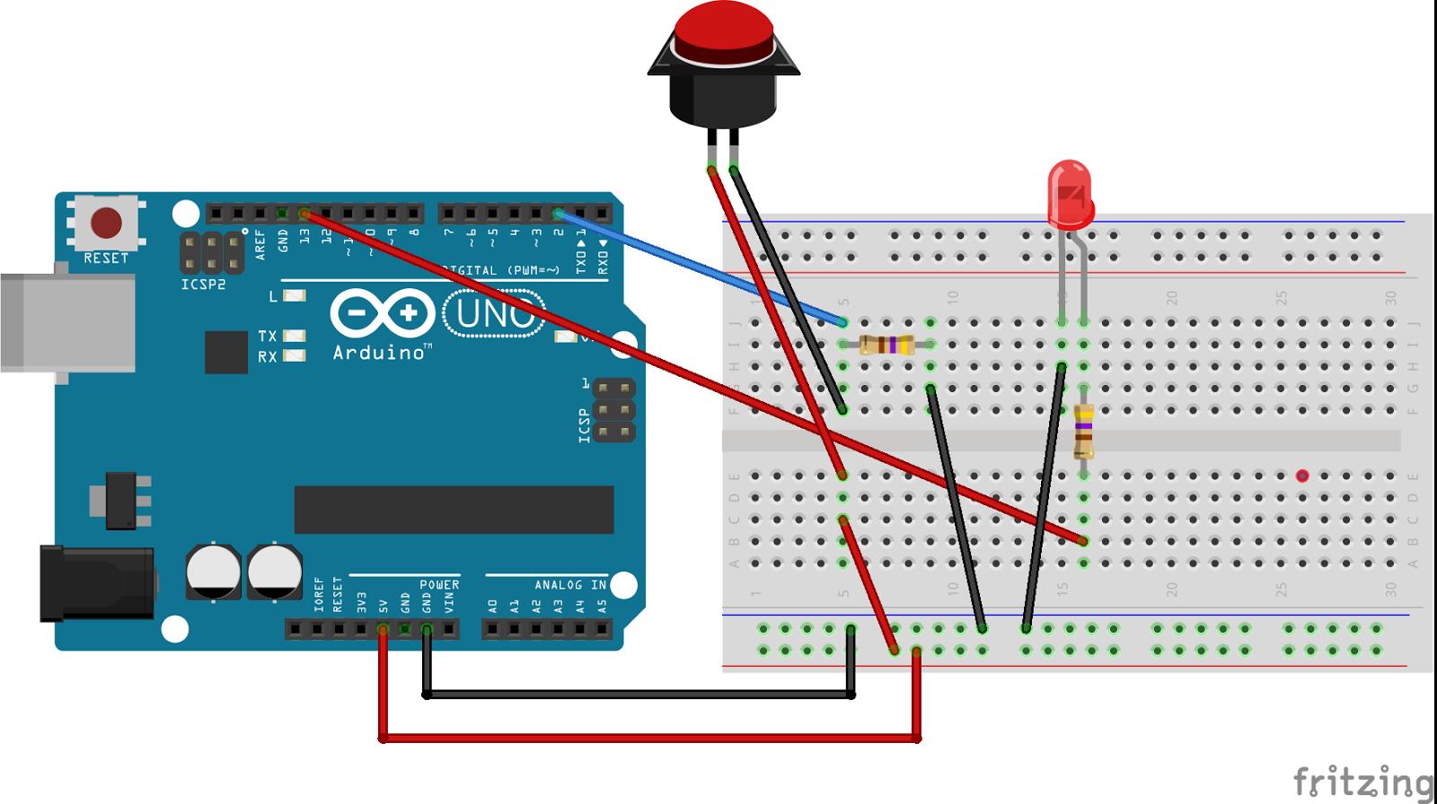 我的手藝diy園地 arduino專案 按鈕開關控制led