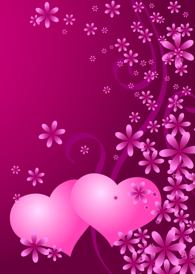 バレンタインデー カードの背景 valentine heart vector イラスト素材1