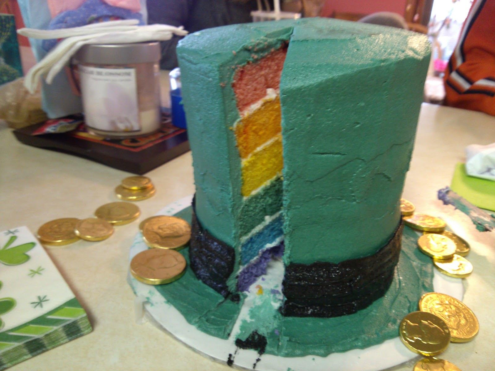 Leprechaun Hat Cake with Rainbow Layers