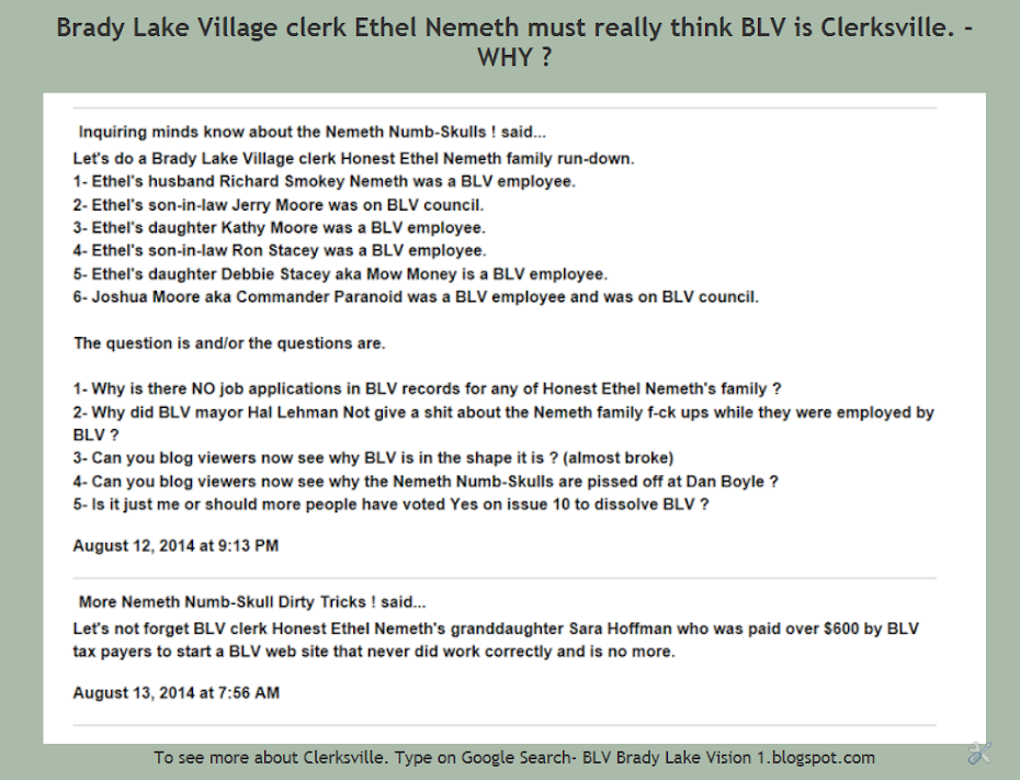 BLV clerk Ethel Nemeth needs to go.