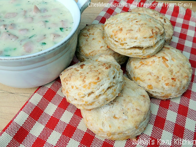 Cheddar Biscuits with Peppered Ham Gravy from www.bobbiskozykitchen.com