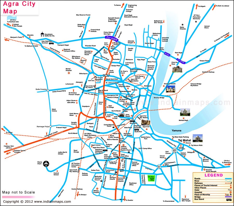 Agra City Map India In Maps
