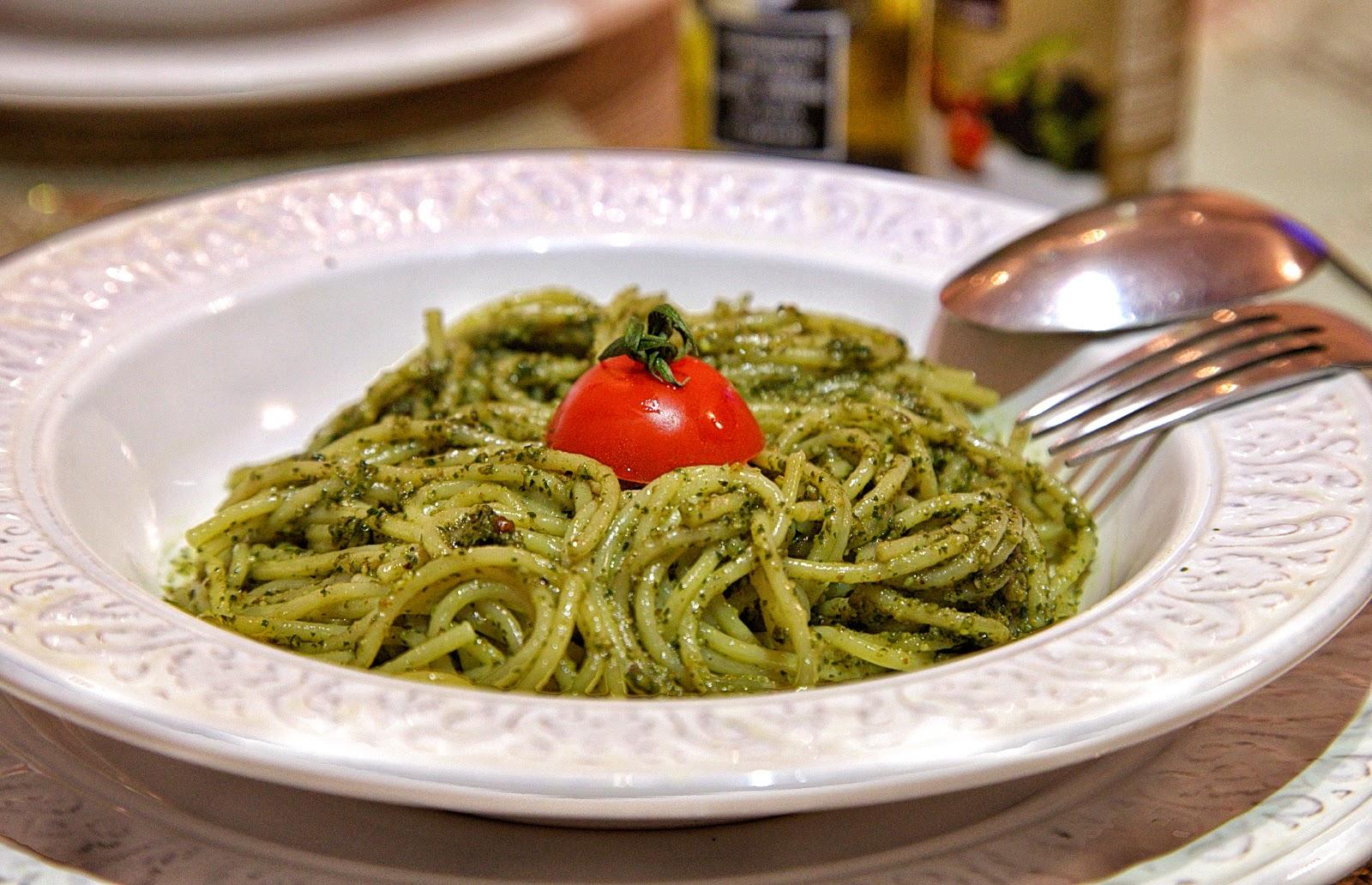 паста спагетти с соусом песто рецепт постная