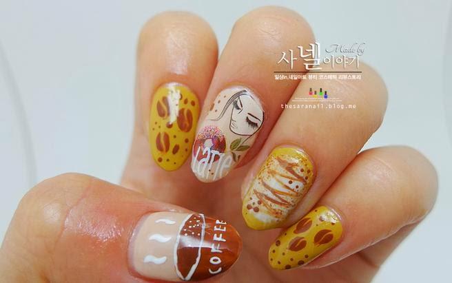 Sara Nail Coffee Nail Art Cafe Latte Nail Designs