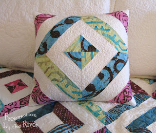 Petunia Strings Pillow by the Freemotion by the River