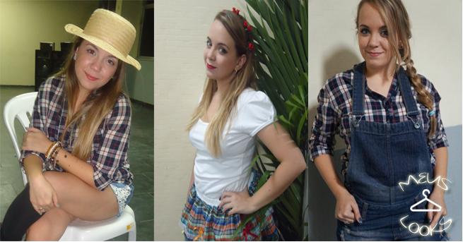look festa junina arraial caipira meu look traça jardineira jeans camisa xadrez bota