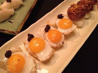Nigiris de huevos de codorniz. Kotobuki 85. Blog Esteban Capdevila