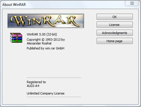 Winrar 5.00 Registered Version Screen