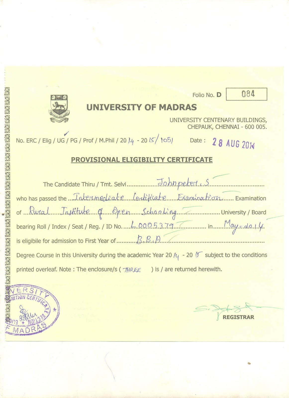 Rural institute of open schooling delhi rural institute of open provisional eligibility certificate from university of madras yadclub Image collections