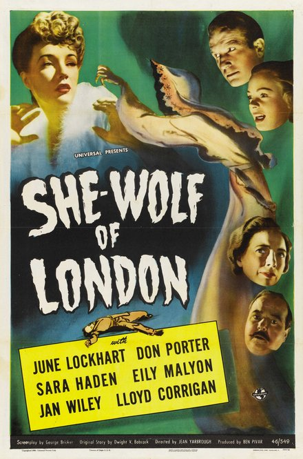 classic posters, free download, graphic design, movies, retro prints, theater, vintage, vintage posters, She Wolf of London, June Lockhart, Don Porter - Vintage Horror Movie Poster