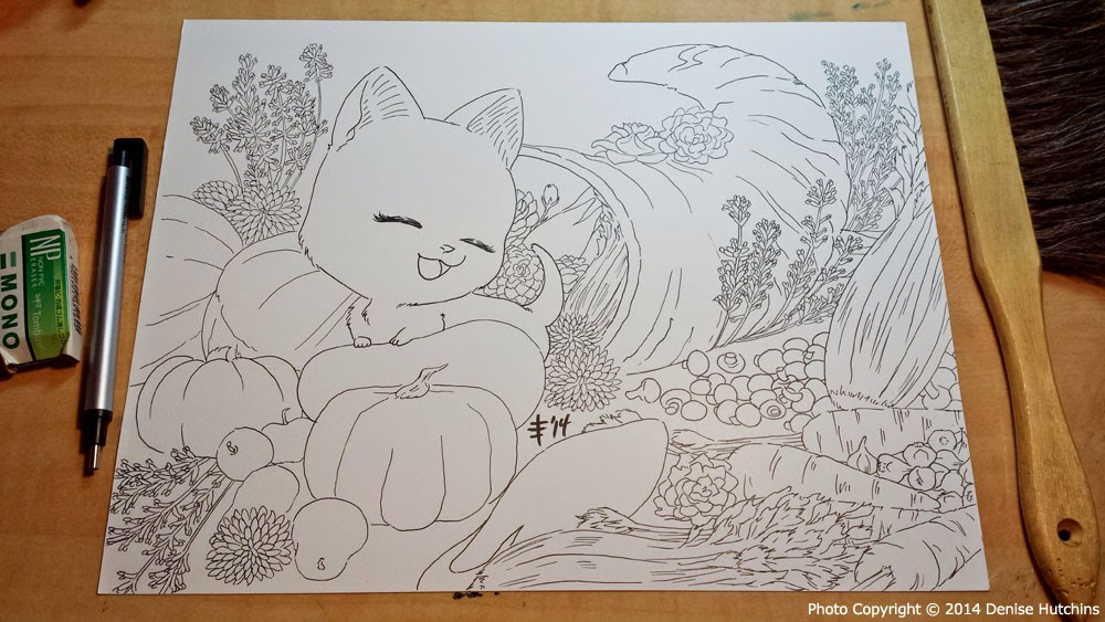 Inked Drawing of a Cat in a Cornucopia