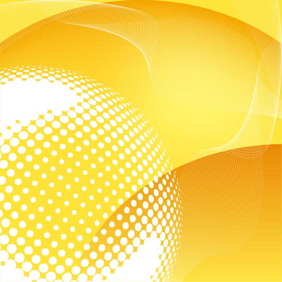 黄色のドットと曲線が美しい背景 Abstract Yellow Vector Background イラスト素材