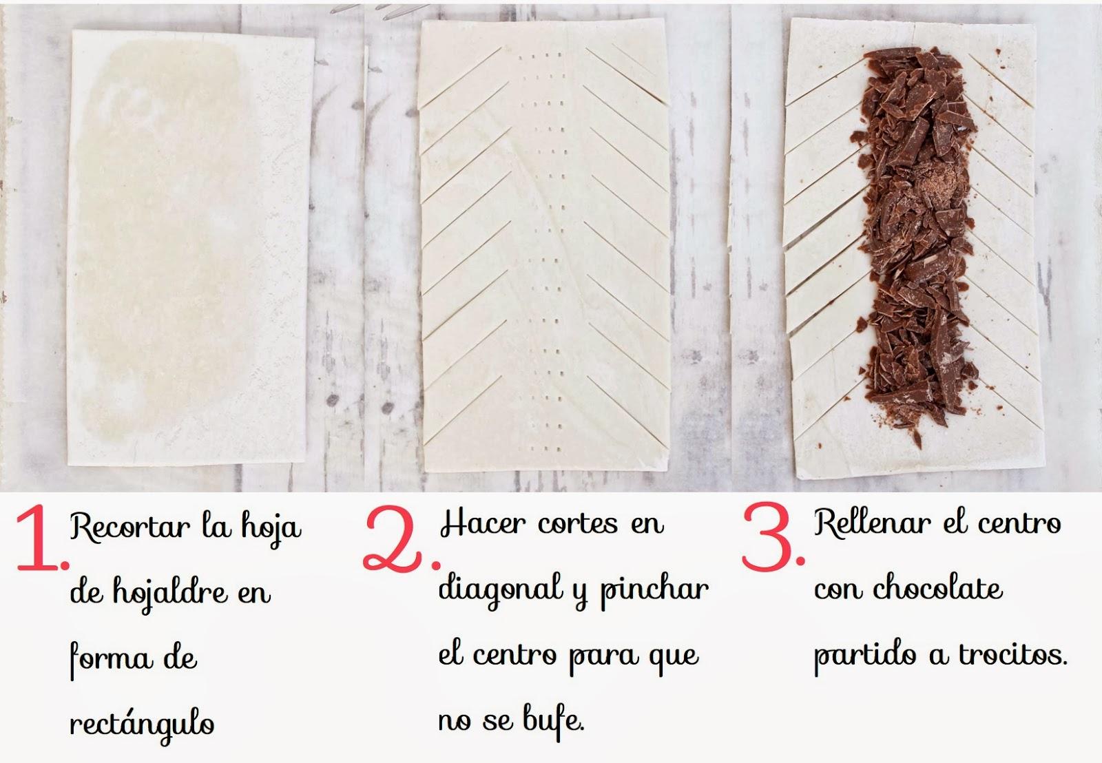 Trenzas de hojaldre y chocolate