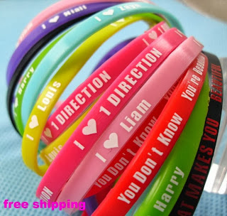 50X kids Silicone One direction bracelets 1D Wristbands Party gift Jewelry