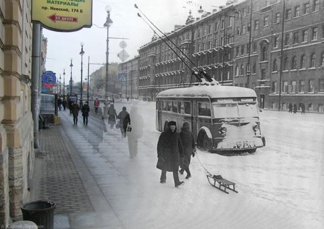 Leningrado, los mismos lugares ahora y la Segunda Guerra Mundial.