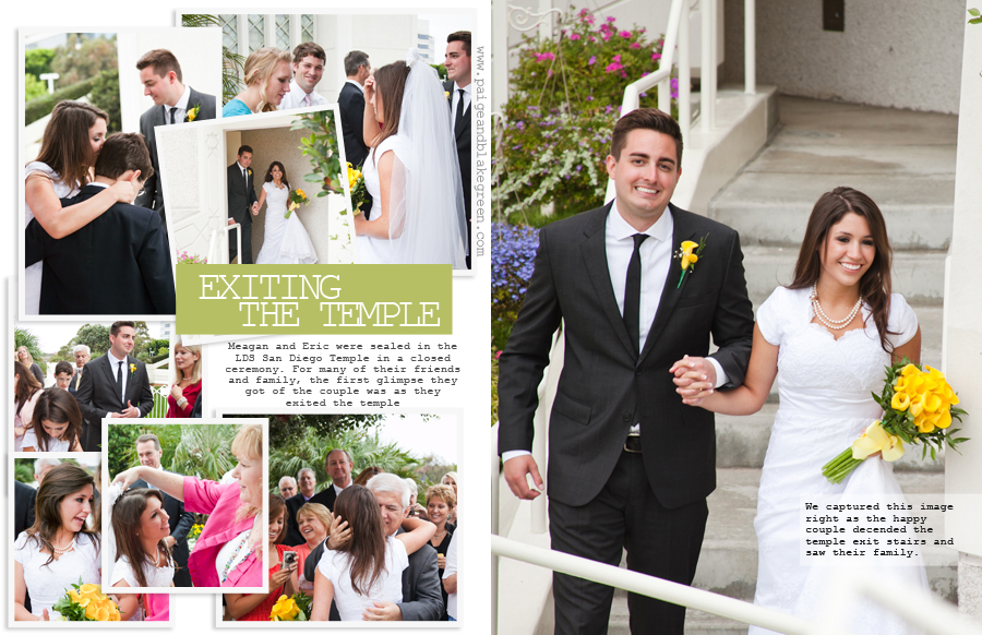 San Diego LDS Temple Wedding Exit by Paige and Blake Green Photography