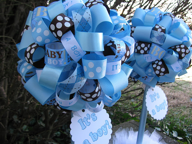 lala it 39 s a boy baby shower topiaries in light blue and brown