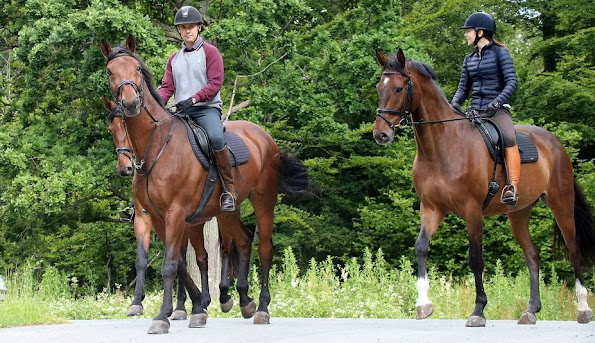 Crown Princess Mary and Crown Prince Frederik of Denmark at Gråsten Palace on horseback