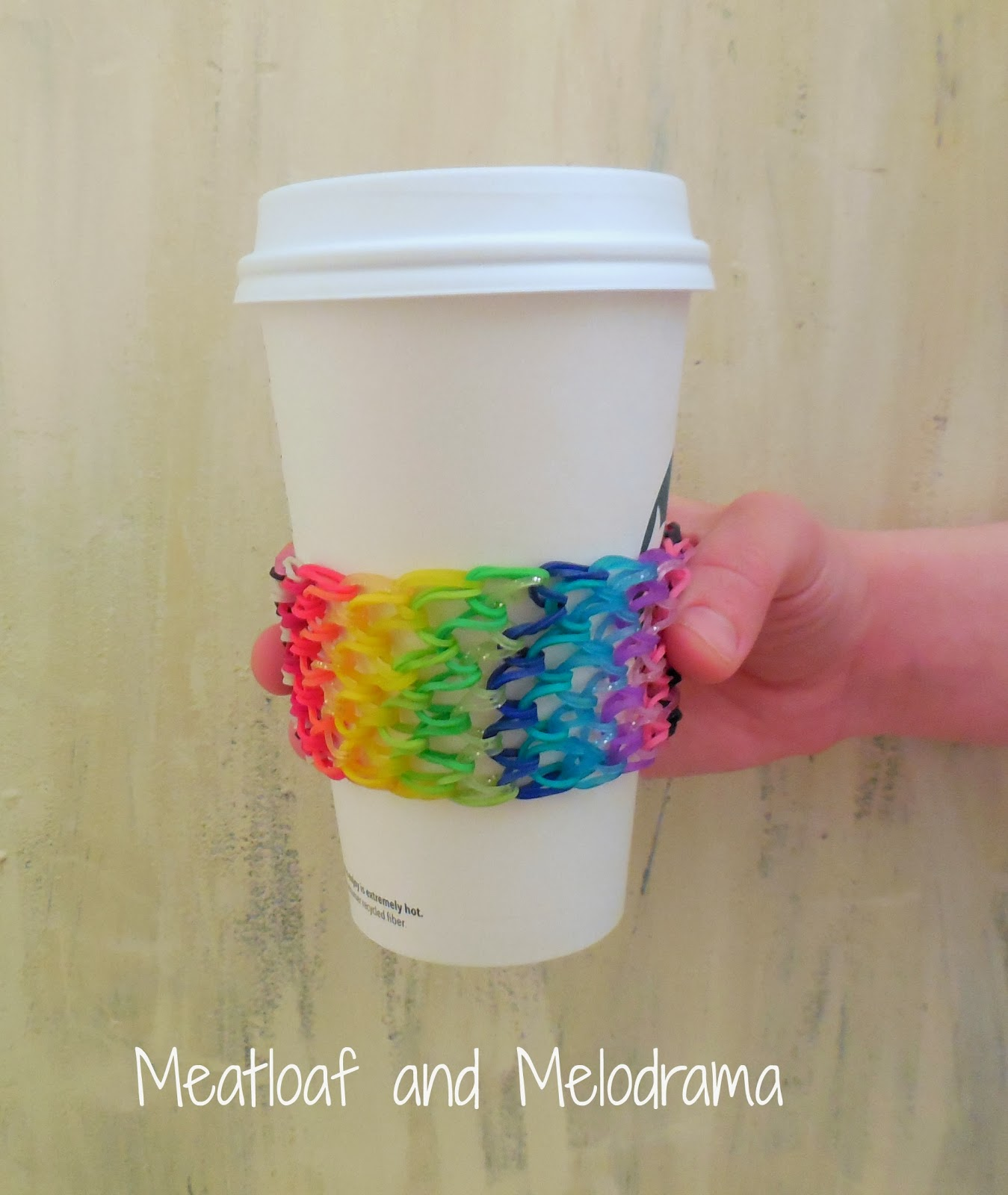 Rainbow Loom band cup cozy