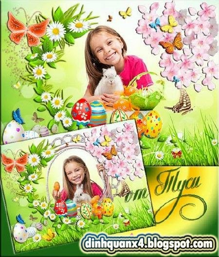 Children frame for photo and collage Easter - Spring mood