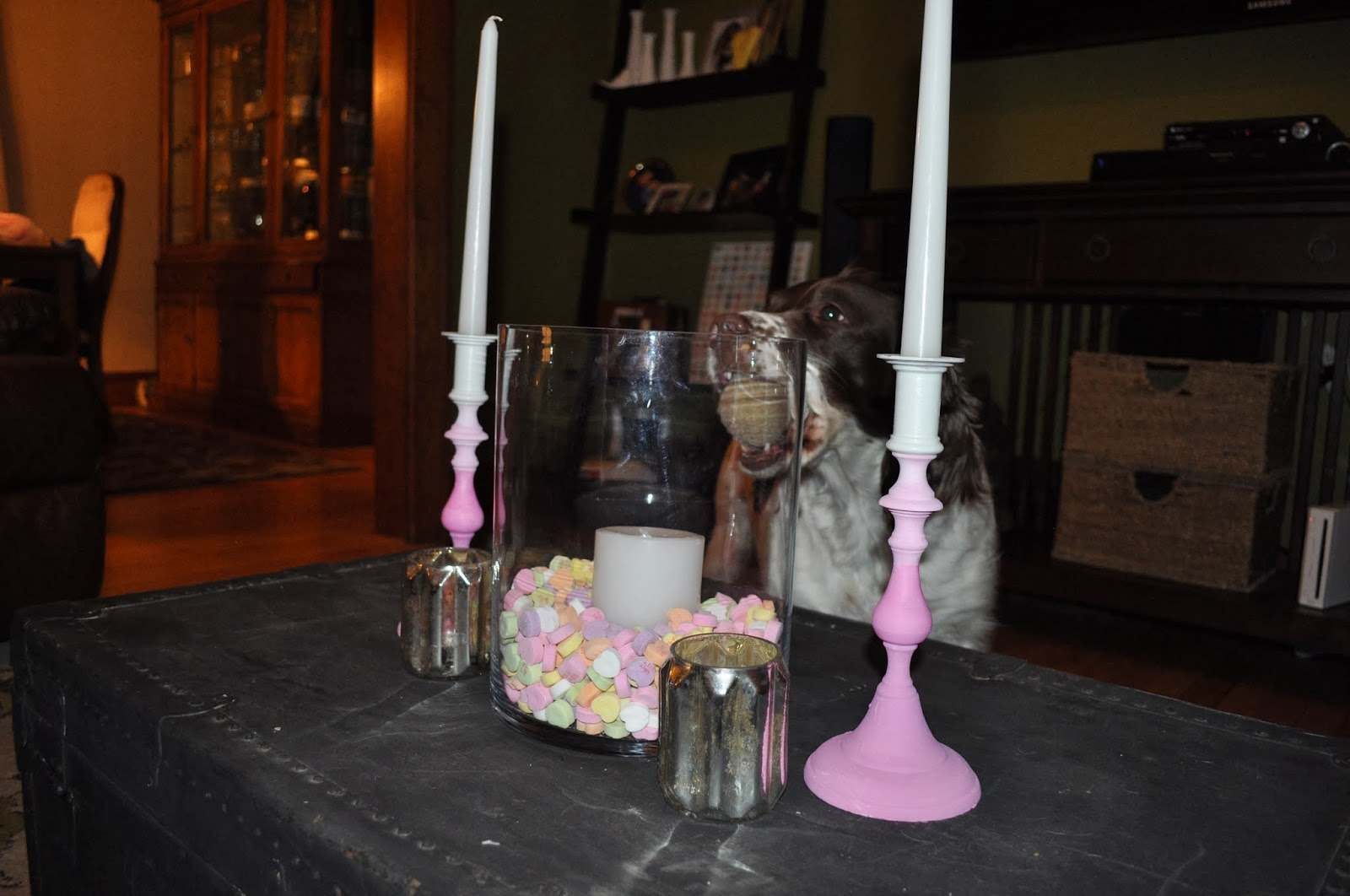 crafts, ombre, candlestick, decor, valentines day