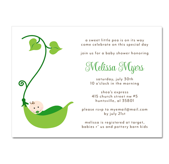 Belle announces new pea in a pod baby shower invitations pea pod shower invitation filmwisefo