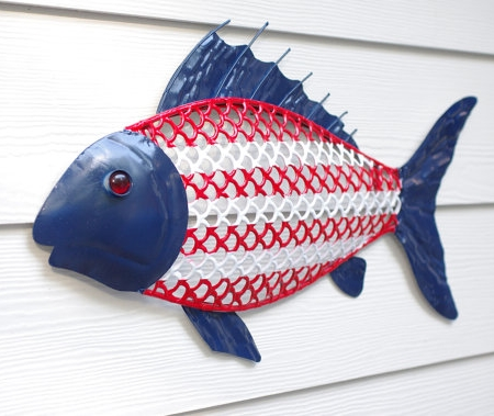 Red, White And Blue Fish Sculpture