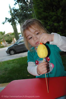 toddler crafts Easter Chicken adding the beak