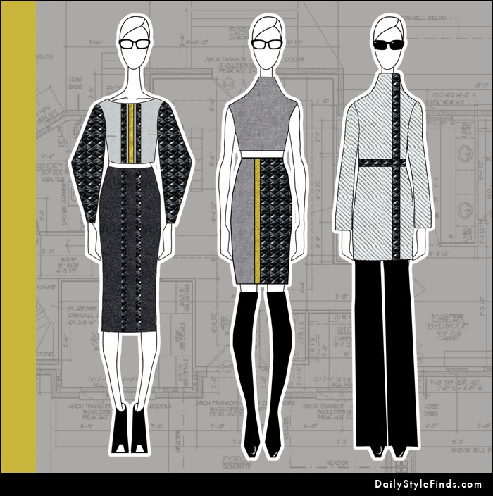 quilted leather, OTK boots, fashion design, fashion illustration, fall 2013, pencil skirt, wool coat