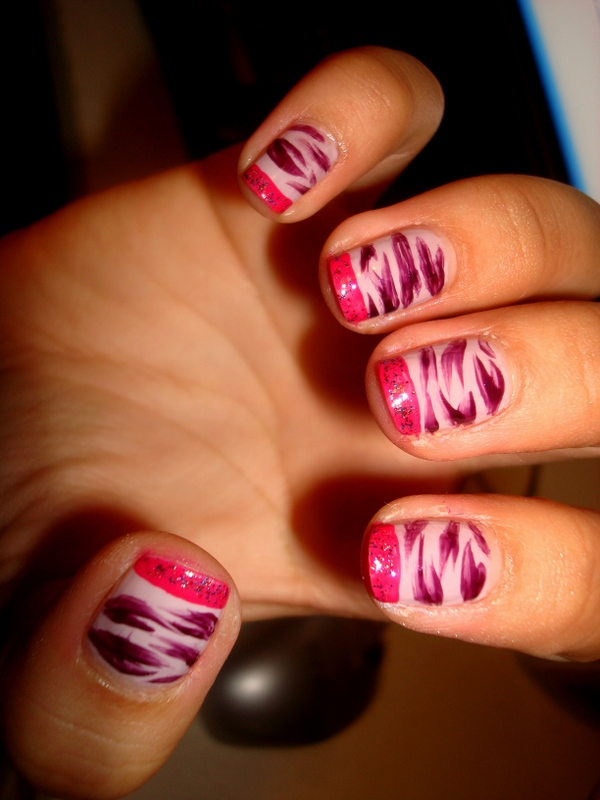 CrystaLs NaiL DesignS: PINK NAILS with PURPLE ZEBRA DESIGN