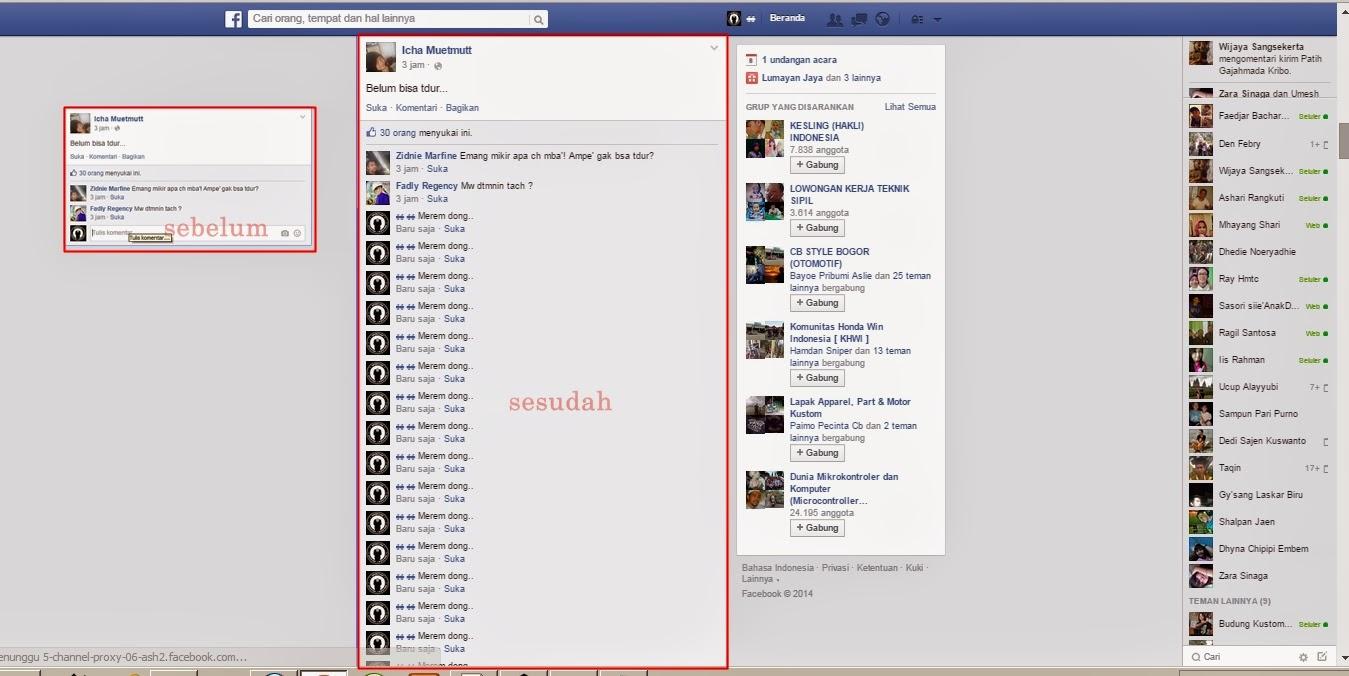 cara membuat komentar masal pada facebook