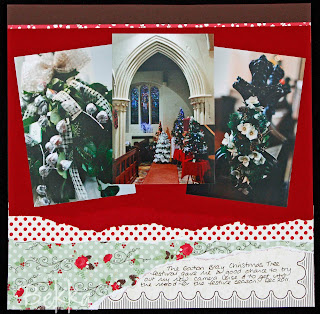 Lovely Christmas Scrapbook Page featuring Holly Berry Bouquet Specialty Paper from Stampin' Up! by Bekka www.feeling-crafty.co.uk  buy Stampin' Up! there.