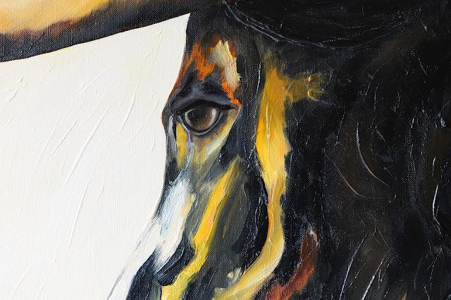 détail de la toile le taureau de pascal blachier phographie pascal blachier