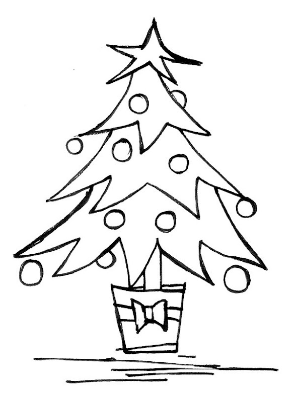 Free Christmas tree printable Coloring Page for kids title=