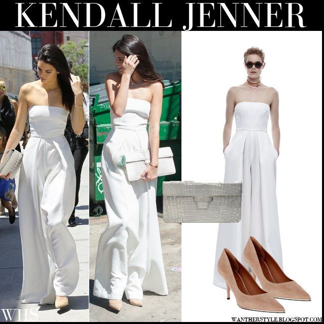 Kendall Jenner in white strapless Solace London Dame jumpsuit, silver croc clutch with suede Givenchy pumps what she wore july 26