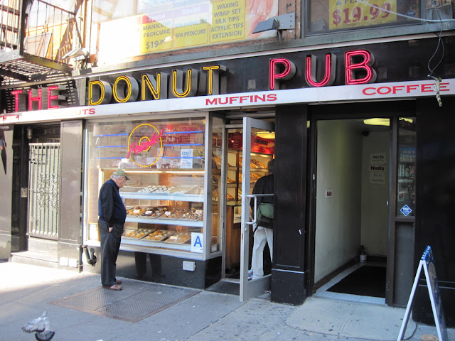 Just looking in the window of The Donut Pub is a wonderful dining in New York experience