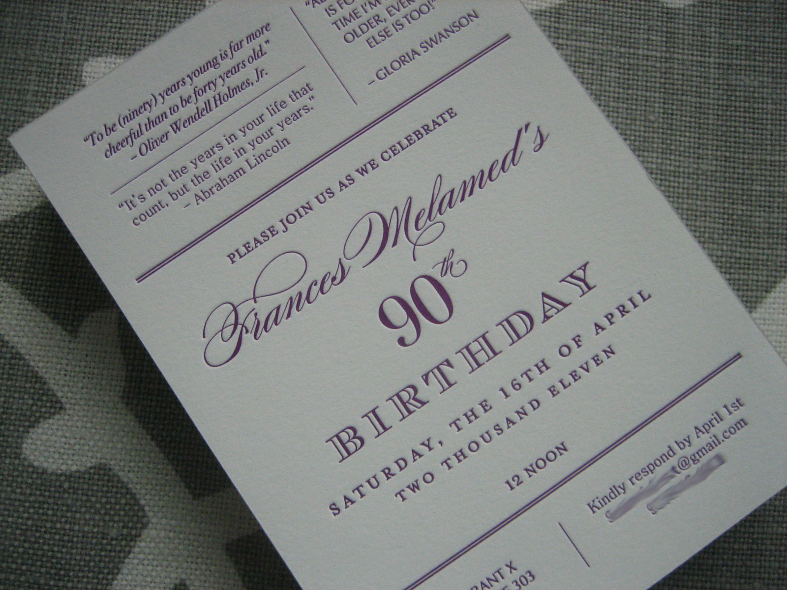 Navy bean letterpress 90th birthday invitations i also created matching address and return labels and lined each envelope with two different letterpress prints the envelope liners added that extra filmwisefo
