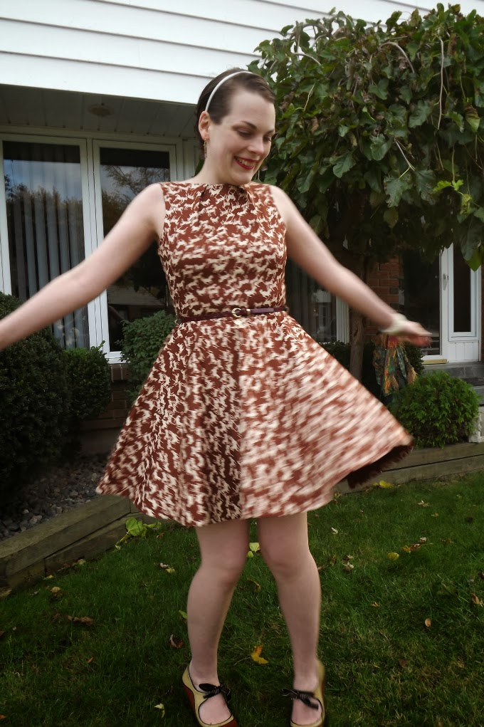 Modcloth dress, modcloth.com, Luck Be a Lady in Equine dress, horse print dress, equestrian style, brown dress, vintage bangle, cuff, celluloid, fit and flare, Poetic License shoes, booties, tease, A Coin For the Well, Suzanne Amlin, Windsor Ontario fashion blog, style blogger, twirl, twirling, spinning