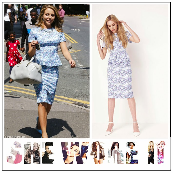 The Only Way is Essex, Lydia Bright, Miss Selfridge, Pastel, Lavender, Purple, Light Blue, White, Grey, All Over Floral Print, Short Sleeve, Peplum Top,  Matching, Pencil Midi Skirt, TOWIE,