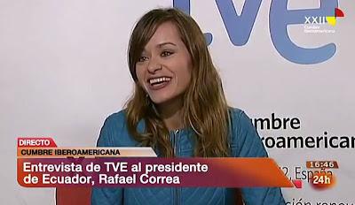 Érika Reija y Rafael Correa, entrevista en el Canal 24 horas