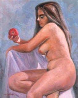 Desnudo con manzana - (Alberto Quintana Salazar)